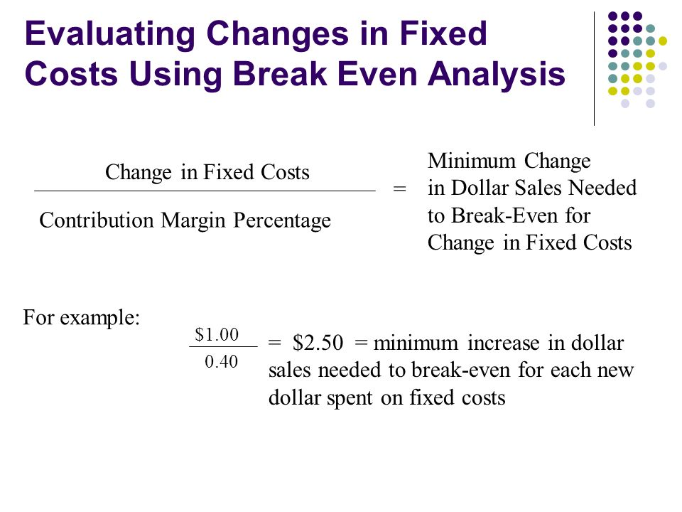 Evaluating Changes in Fixed Costs Using Break Even Analysis