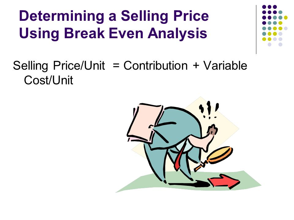 Determining a Selling Price Using Break Even Analysis