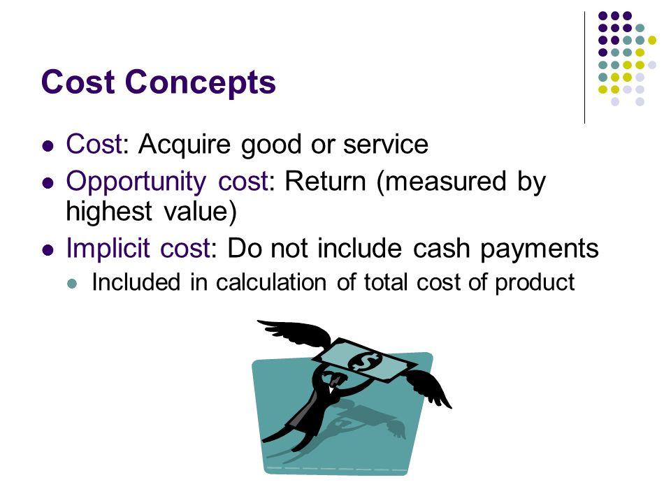 Cost Concepts Cost: Acquire good or service