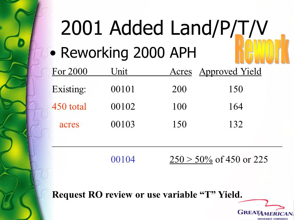 2001 Added Land/P/T/V Rework Reworking 2000 APH