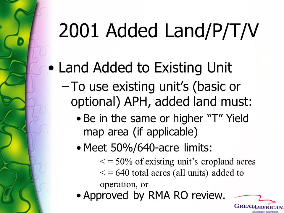 2001 Added Land/P/T/V Land Added to Existing Unit