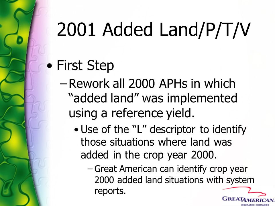 2001 Added Land/P/T/V First Step