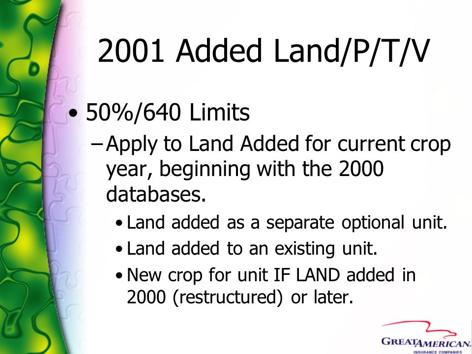 2001 Added Land/P/T/V 50%/640 Limits