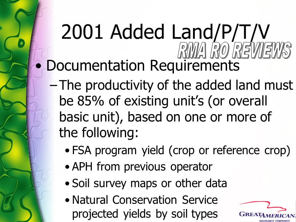 2001 Added Land/P/T/V Documentation Requirements