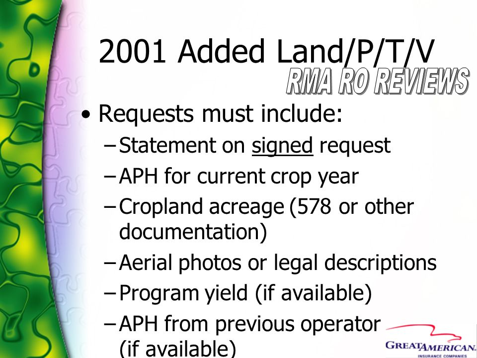 2001 Added Land/P/T/V Requests must include: