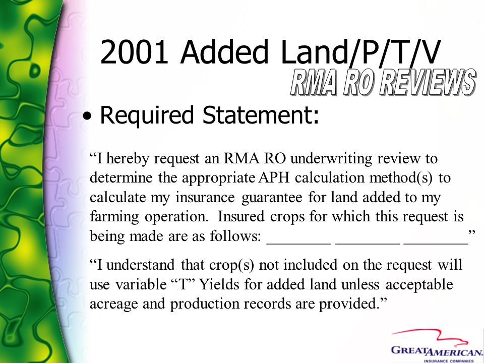 2001 Added Land/P/T/V Required Statement: RMA RO REVIEWS