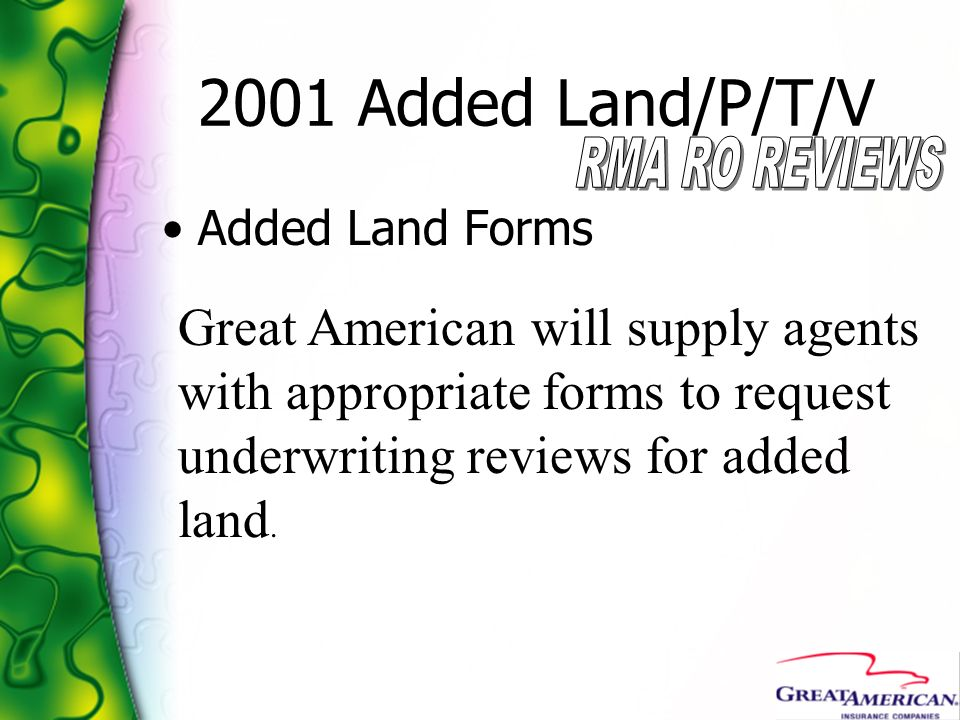 2001 Added Land/P/T/V RMA RO REVIEWS. Added Land Forms.