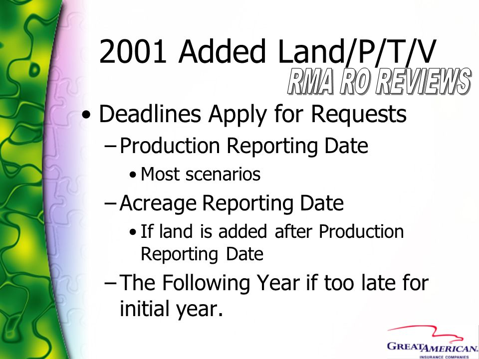 2001 Added Land/P/T/V Deadlines Apply for Requests