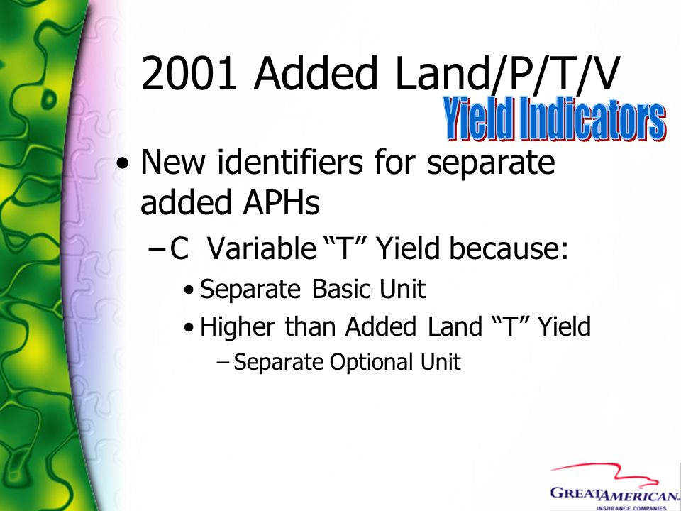 2001 Added Land/P/T/V Yield Indicators