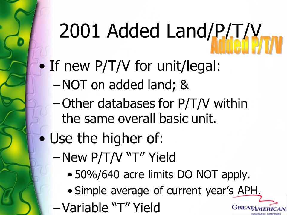 2001 Added Land/P/T/V Added P/T/V If new P/T/V for unit/legal: