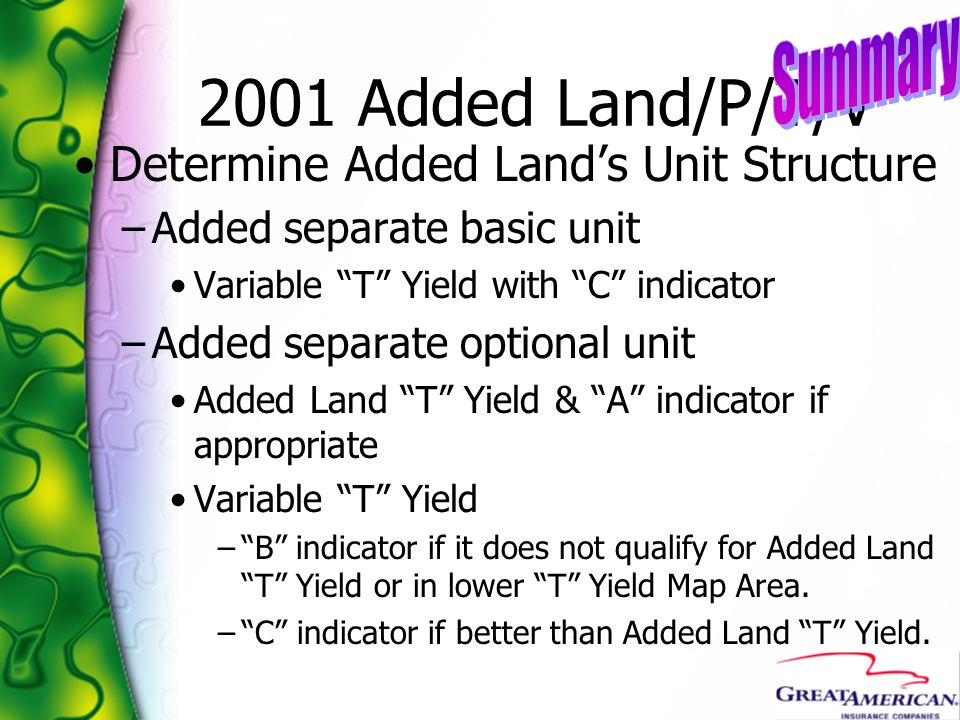 2001 Added Land/P/T/V Summary Determine Added Land's Unit Structure
