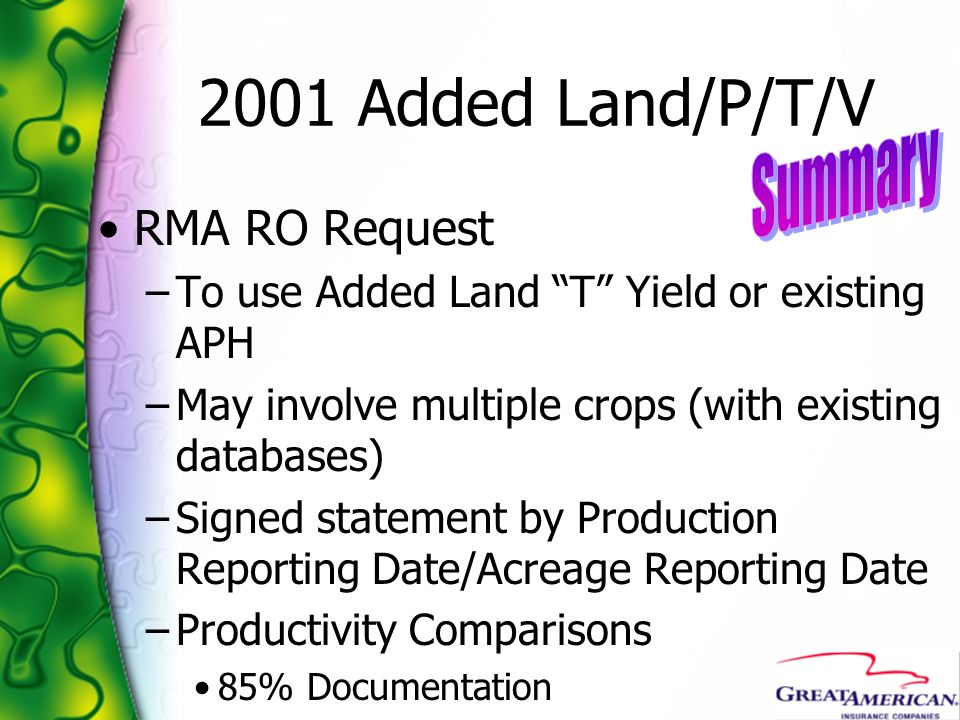 2001 Added Land/P/T/V Summary RMA RO Request