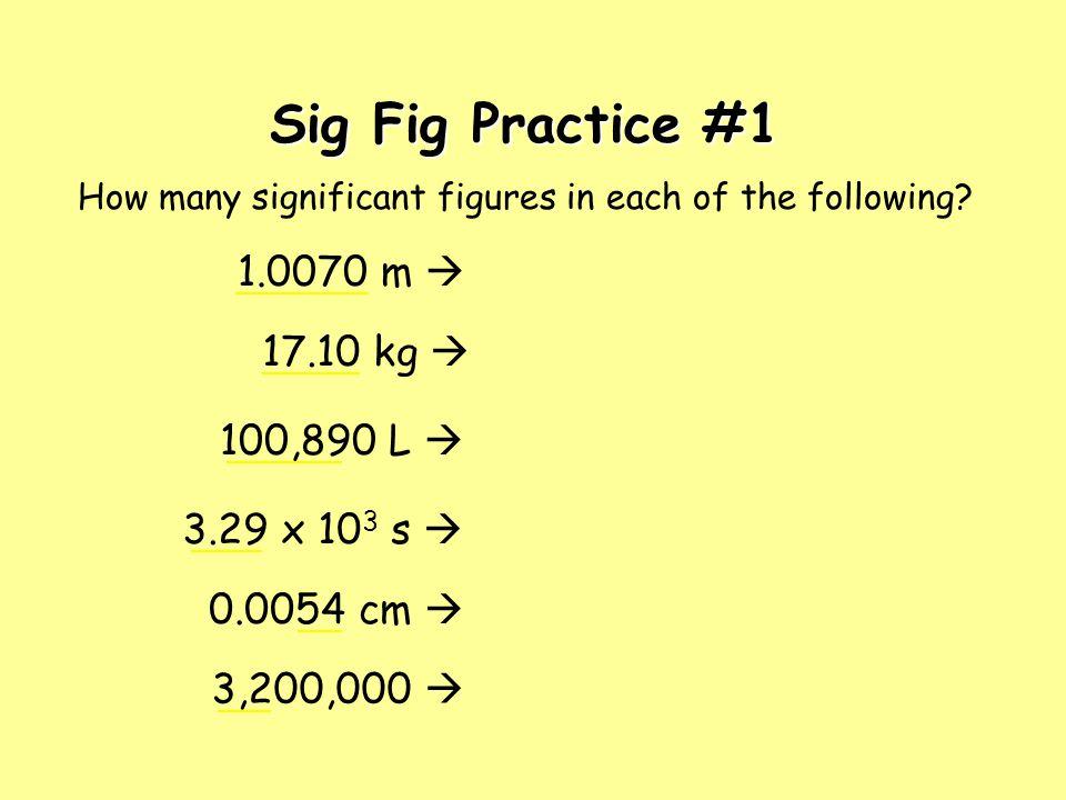 Sig Fig Practice #1 1.0070 m  17.10 kg  100,890 L  3.29 x 103 s 