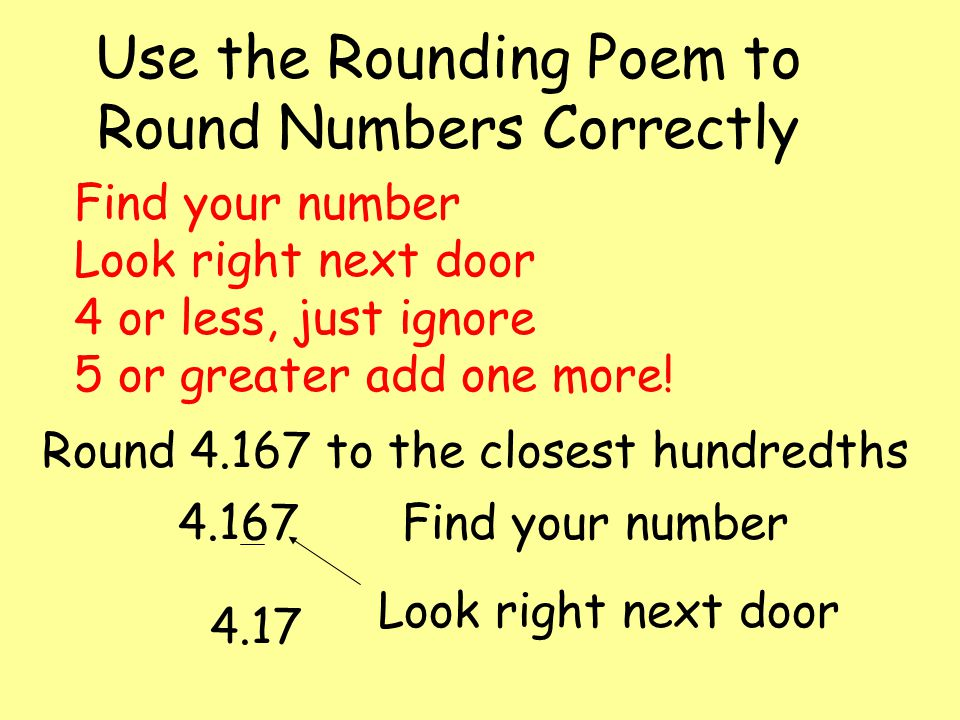 Use the Rounding Poem to Round Numbers Correctly