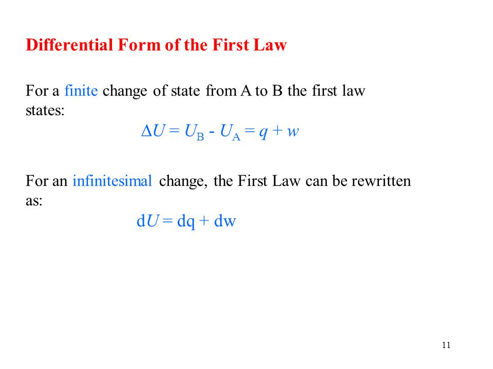 Differential Form of the First Law