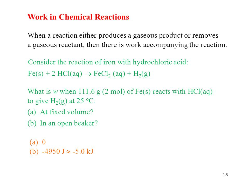 Work in Chemical Reactions