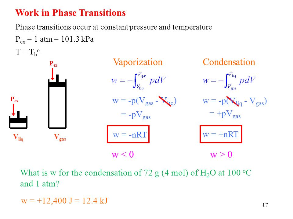 Work in Phase Transitions