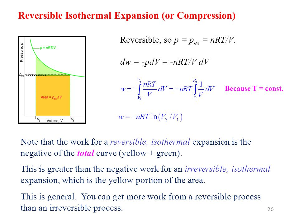 Reversible Isothermal Expansion (or Compression)