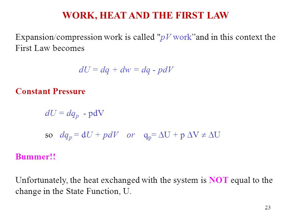 Work, Heat and the First Law