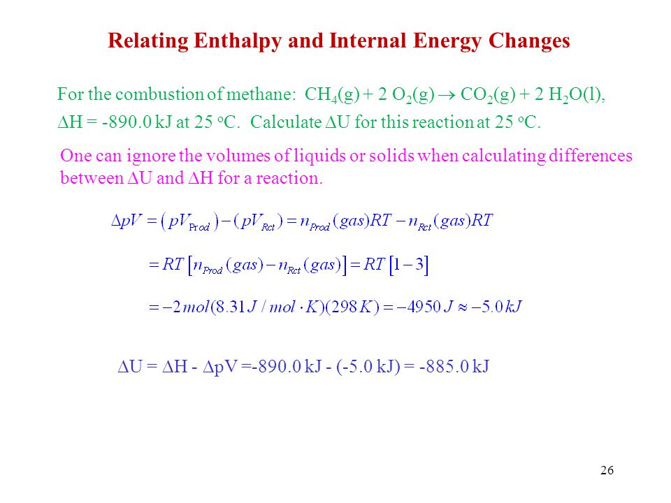 Relating Enthalpy and Internal Energy Changes