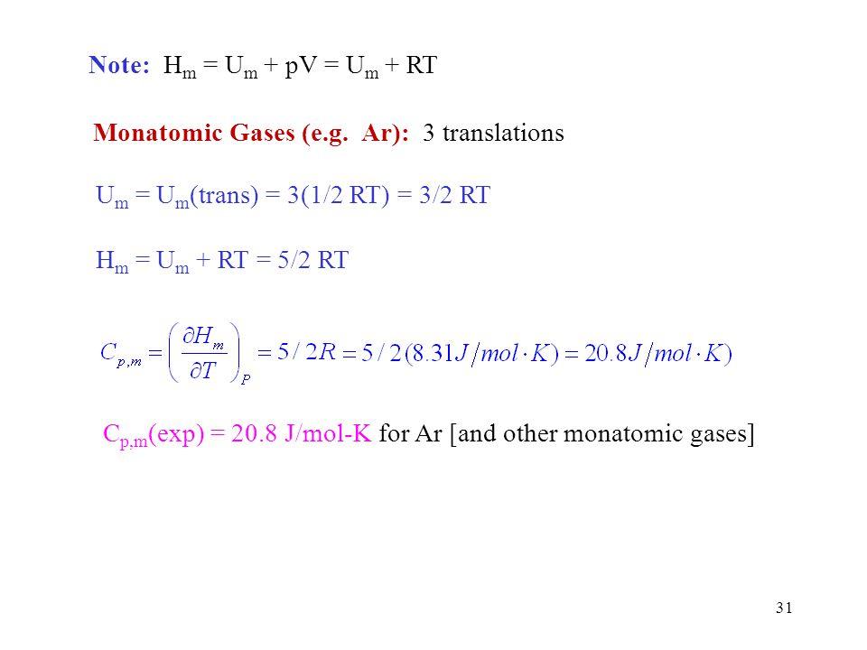 Note: Hm = Um + pV = Um + RT Monatomic Gases (e.g. Ar): 3 translations. Um = Um(trans) = 3(1/2 RT) = 3/2 RT.