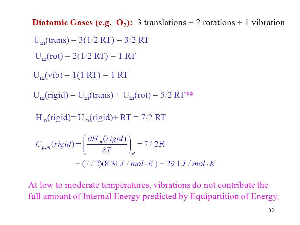 Diatomic Gases (e.g. O2): 3 translations + 2 rotations + 1 vibration