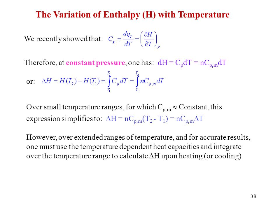 The Variation of Enthalpy (H) with Temperature
