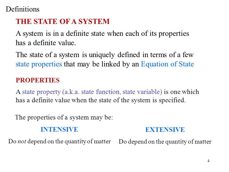 Definitions THE STATE OF A SYSTEM
