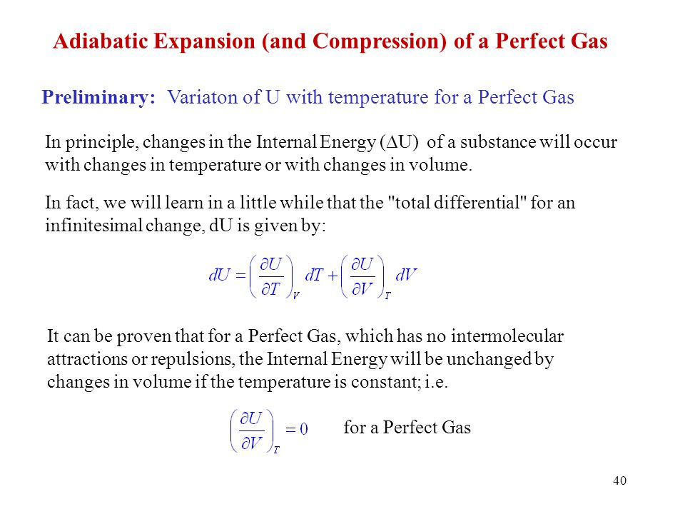 Adiabatic Expansion (and Compression) of a Perfect Gas