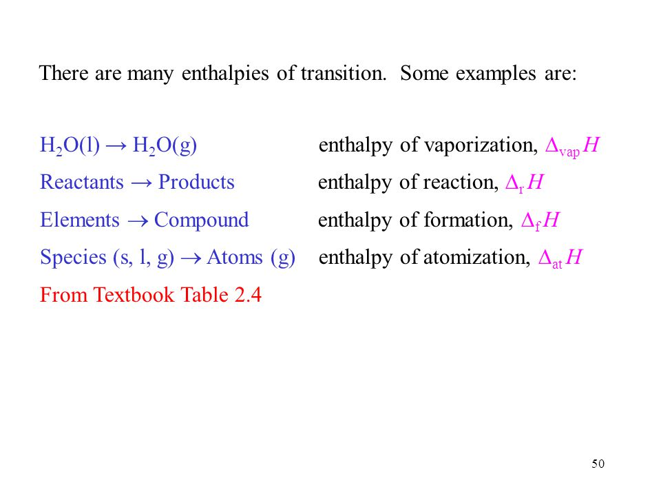 There are many enthalpies of transition. Some examples are: