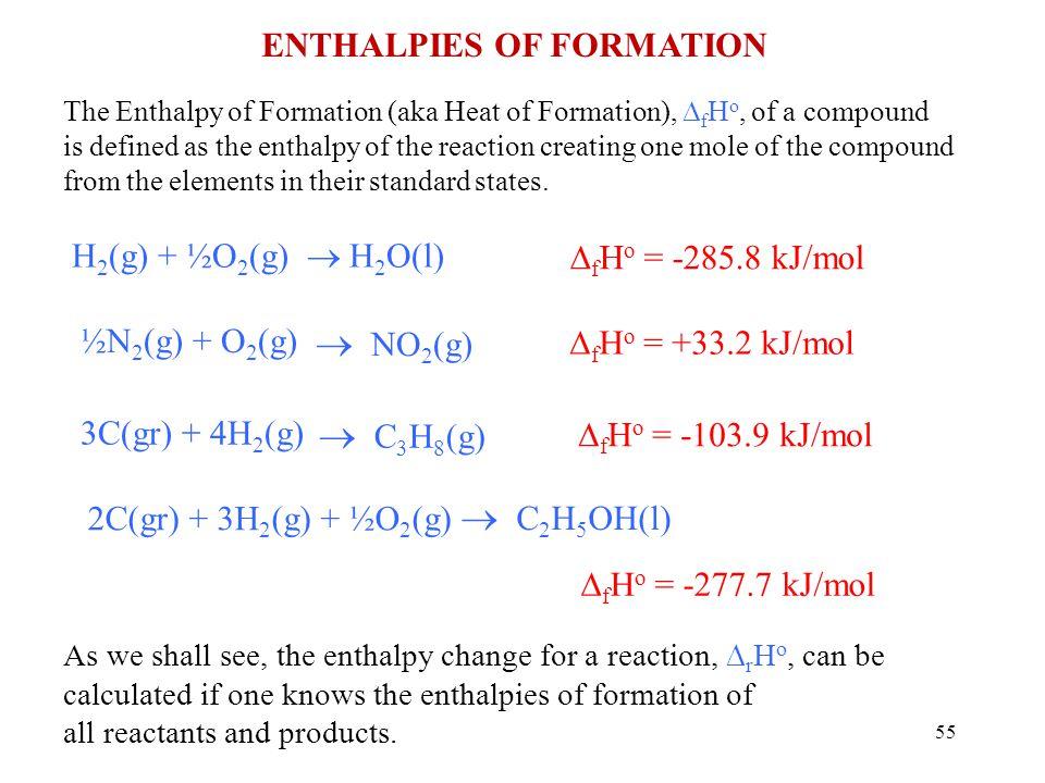  NO2(g)  C3H8(g)  C2H5OH(l) Enthalpies of Formation  H2O(l)