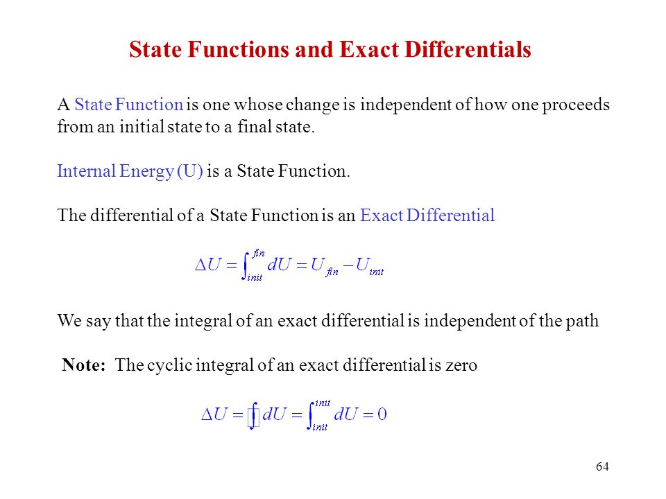 State Functions and Exact Differentials