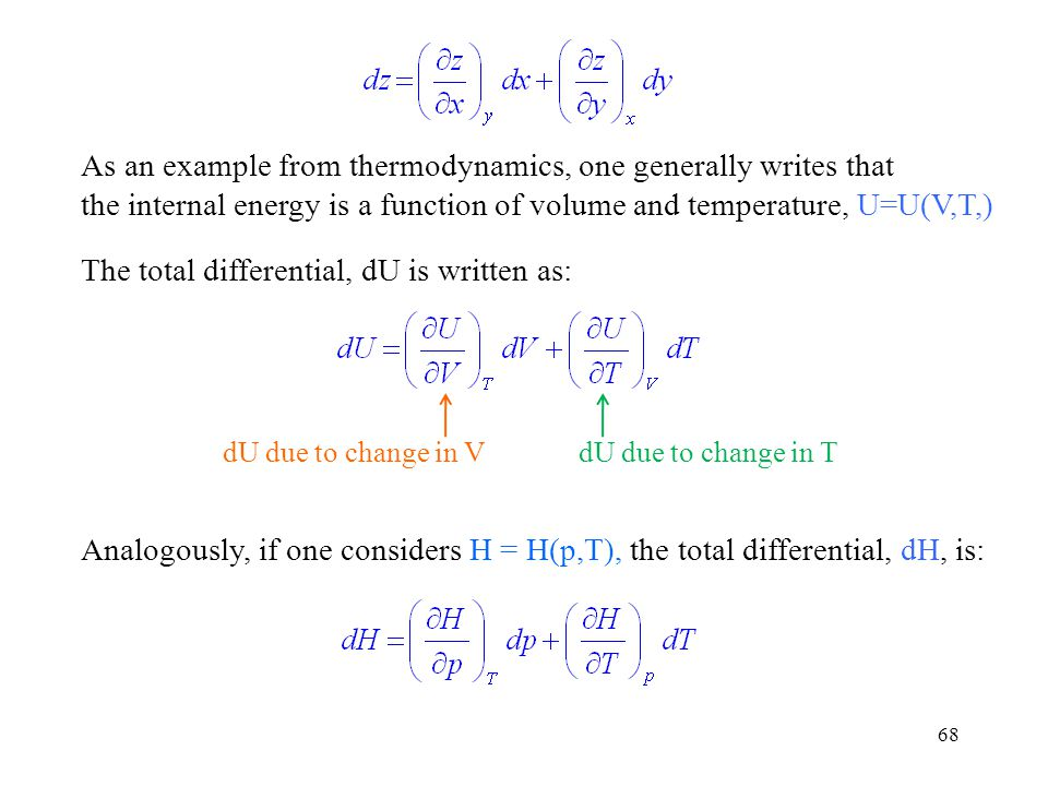 As an example from thermodynamics, one generally writes that