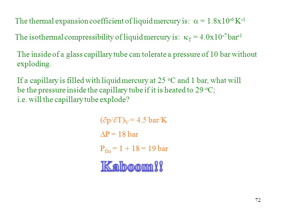 The thermal expansion coefficient of liquid mercury is:  = 1
