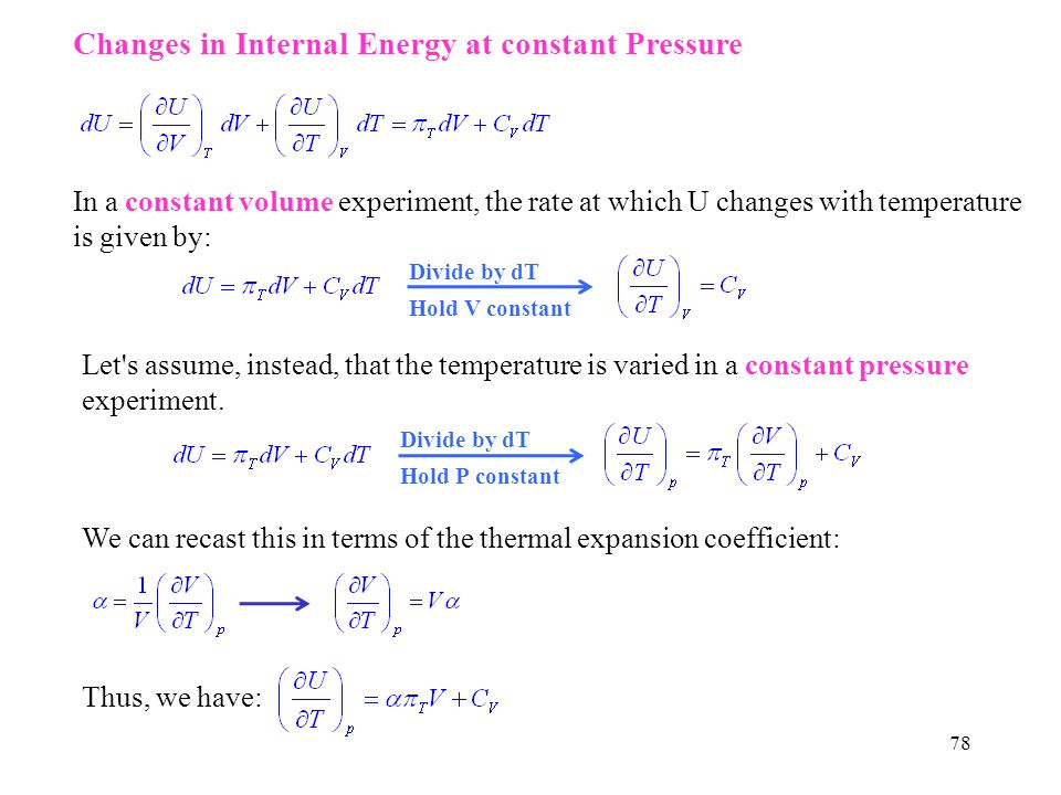 Changes in Internal Energy at constant Pressure