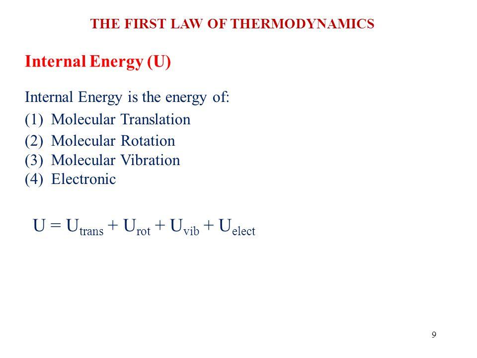 U = Utrans + Urot + Uvib + Uelect