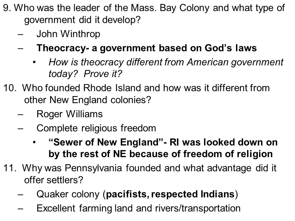 9. Who was the leader of the Mass