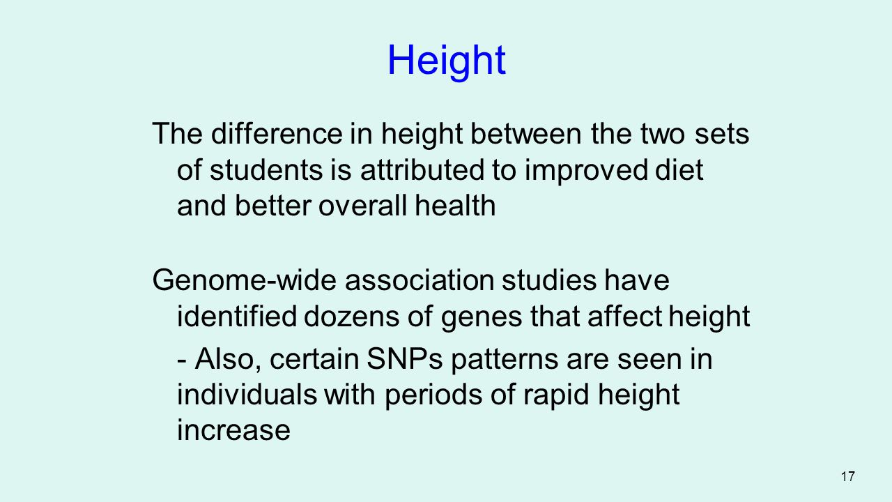 Height The difference in height between the two sets of students is attributed to improved diet and better overall health.