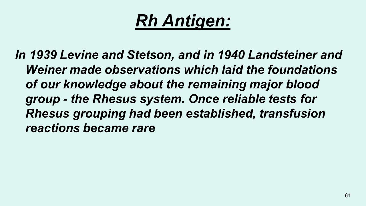 Rh Antigen: