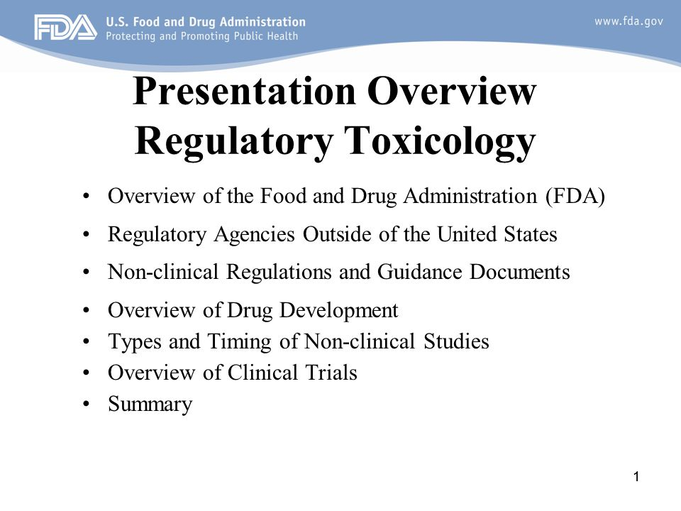 Presentation Overview Regulatory Toxicology