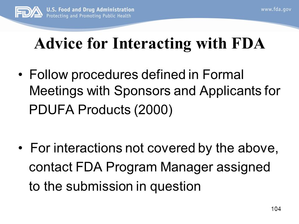 Advice for Interacting with FDA