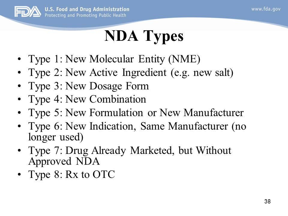NDA Types Type 1: New Molecular Entity (NME)