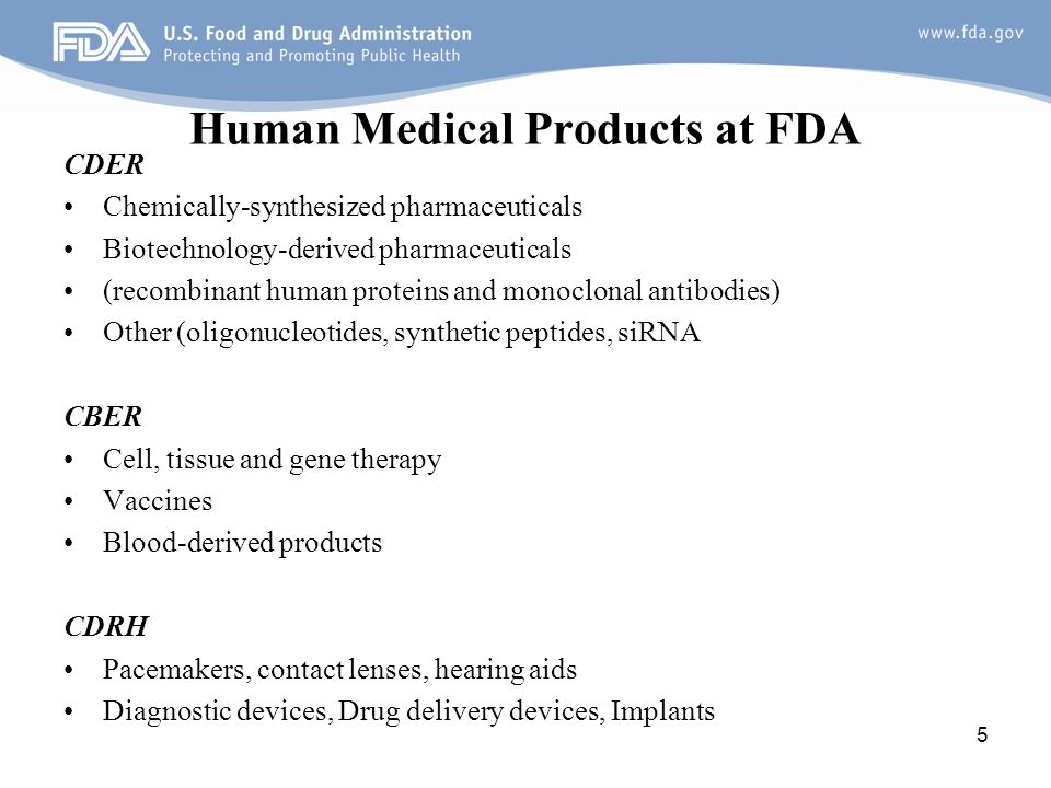 Human Medical Products at FDA