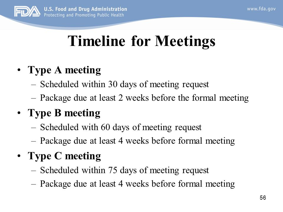 Timeline for Meetings Type A meeting Type B meeting Type C meeting