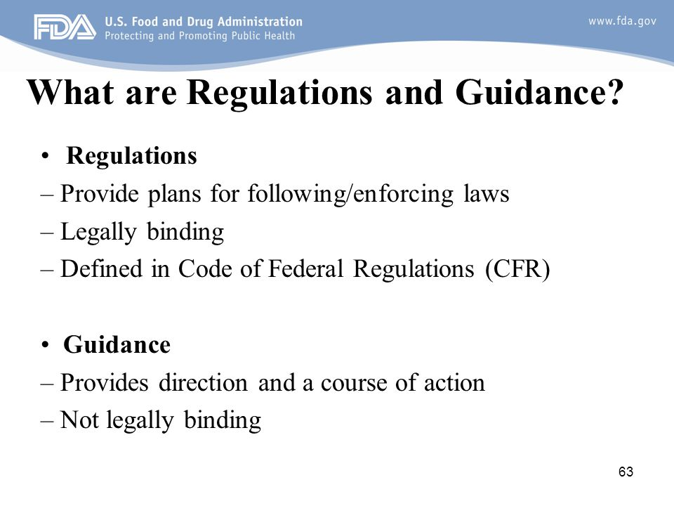 What are Regulations and Guidance