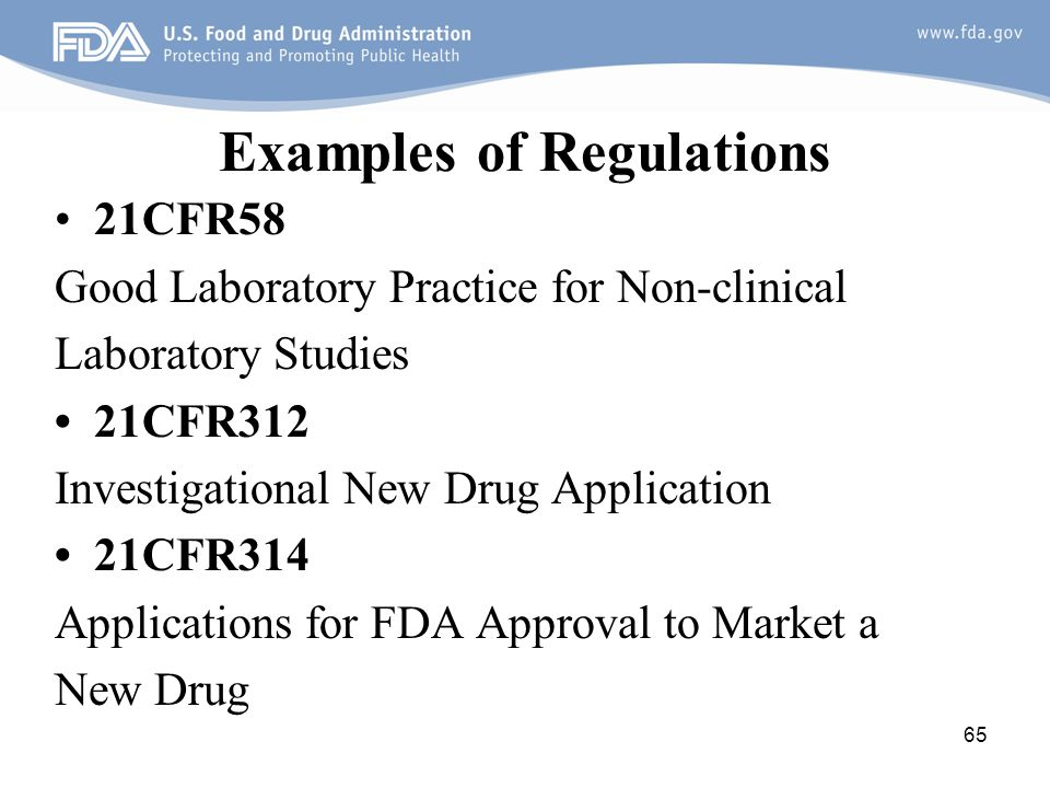 Examples of Regulations