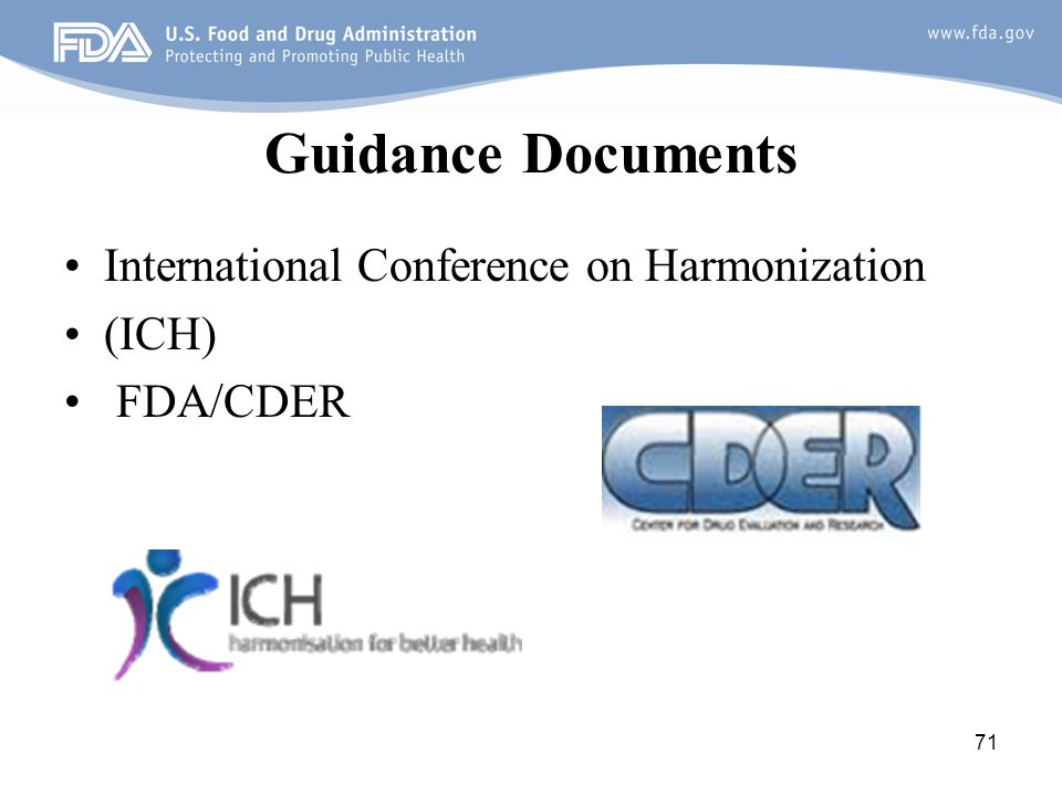 Guidance Documents International Conference on Harmonization (ICH)