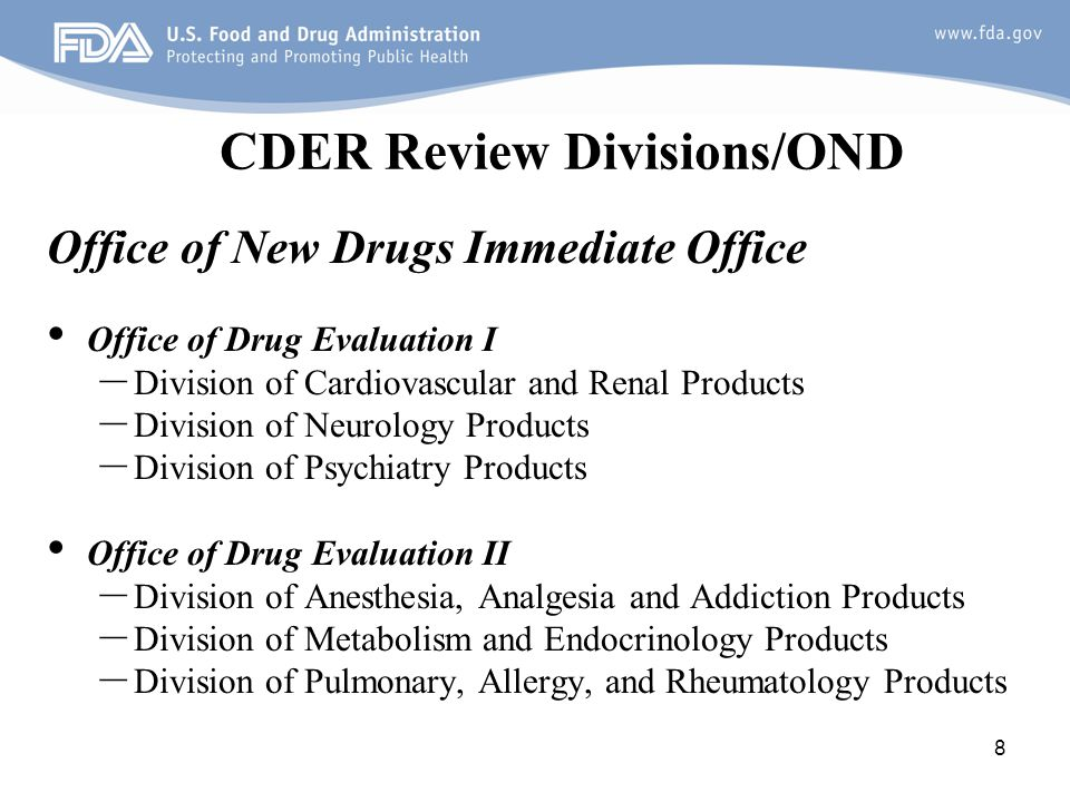 CDER Review Divisions/OND