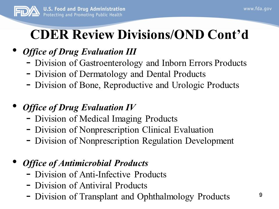 CDER Review Divisions/OND Cont'd