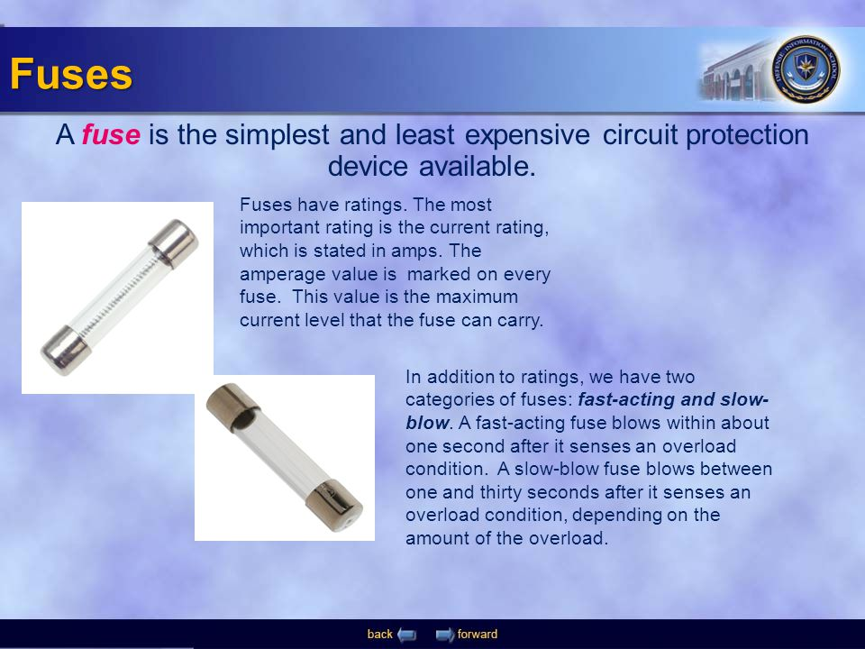 Fuses A fuse is the simplest and least expensive circuit protection device available.